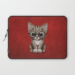Cute Brown Tabby Kitten Wearing Eye Glasses on Red Laptop Sleeve