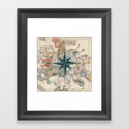 Compass Graphic with an ancient Constellation Map Framed Art Print