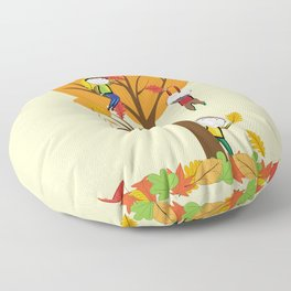 Children playing and autumn tree Floor Pillow