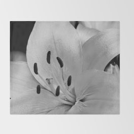 White Lily Flower Close Up Throw Blanket