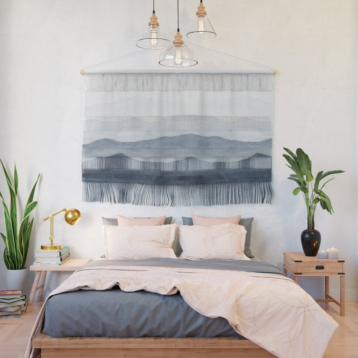 Indigo Abstract Watercolor Mountains Wall Hanging