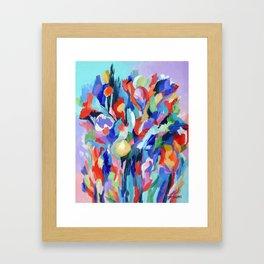 Bloom, a semi-abstract botanical acrylic painting Framed Art Print