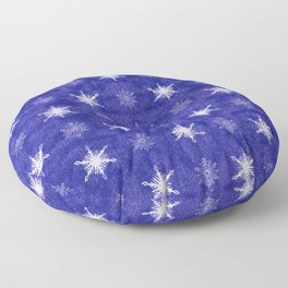 Royal Purple and White Christmas Snowflakes Floor Pillow