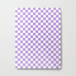 Small Checkered - White and Light Violet Metal Print