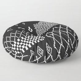 Moroccan Patchwork in Black and White Floor Pillow
