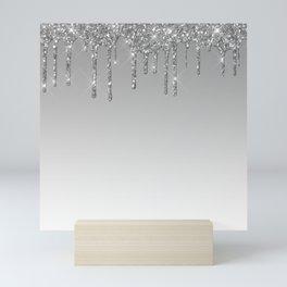 Gray & Silver Glitter Drips Mini Art Print