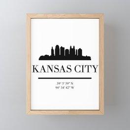KANSAS CITY BLACK SILHOUETTE SKYLINE ART Framed Mini Art Print