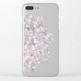 Dreams Mandala - Magical Purple on Gray Clear iPhone Case