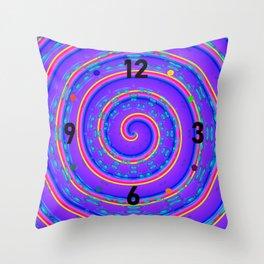 Clockwise crazy clock Throw Pillow