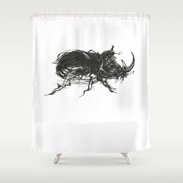 Beetle 1. Black on white background Shower Curtain