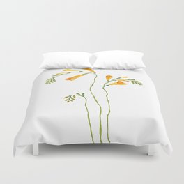 orange freesia watercolor Duvet Cover