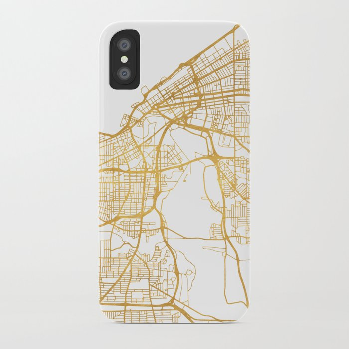Brilliant Ohio Map.Cleveland Ohio City Street Map Art Iphone Case By Deificusart Society6