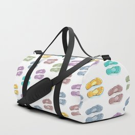 Happy coloured flip flops summer vibes Duffle Bag