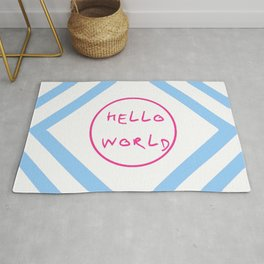 hello world 6 pink and blue Rug