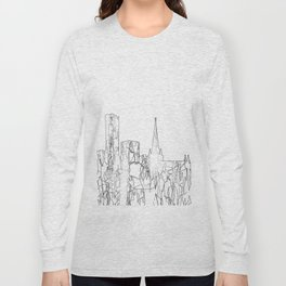 Birmingham, UK Skyline B&W - Thin Line Long Sleeve T-shirt