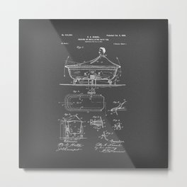 Rocking Oscillating Bathtub Patent Engineering Drawing Metal Print