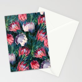 Lush Protea Botanical with Blue Green Leaves Stationery Cards