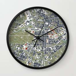 Berlin city map engraving Wall Clock