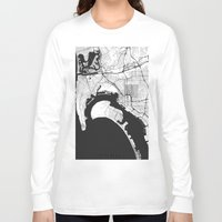 san diego Long Sleeve T-shirts featuring San Diego Map Gray by City Art Posters