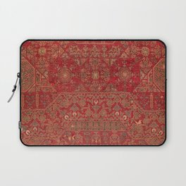 Bohemian Medallion II // 15th Century Old Distressed Red Green Colorful Ornate Accent Rug Pattern Laptop Sleeve