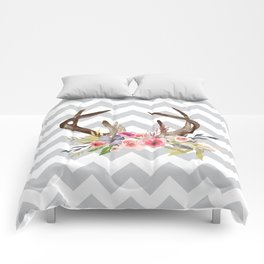 Deer Antlers with flowers Comforters