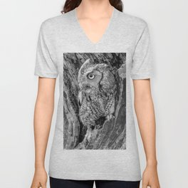 Echo the Screech Owl by Teresa Thompson Unisex V-Neck