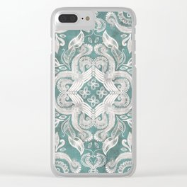 Teal and grey dirty denim textured boho pattern Clear iPhone Case