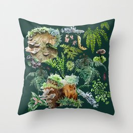 Fungi & Ferns Green Throw Pillow