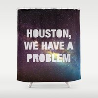 houston Shower Curtains featuring Houston by Text Guy
