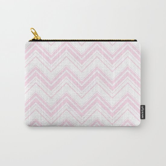 Chevron Zig Zag pattern pink on white on #Society6 Carry-All Pouch