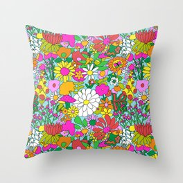 60's Groovy Garden in Blue Throw Pillow