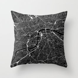 London Black Map Throw Pillow