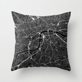 London Black Map Throw Pillow
