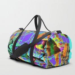BLUE BUTTERFLY SHABBY CHIC PEELING PEACOCK PURPLE WALLPAPER Duffle Bag