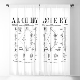 Archery Compound Bow Old Vintage Patent Drawing Print Blackout Curtain
