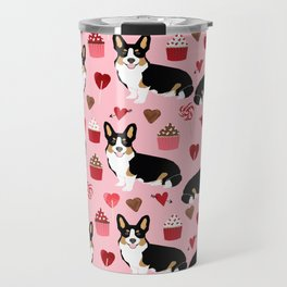 Welsh corgi valentines day gifts tri colored corgis cupcakes hearts love dog breed corgi crew Travel Mug