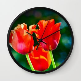 Red Tulips In The Garden Wall Clock