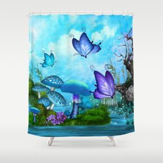 Mystic Whimsey Butterfly Pond Fantasy Shower Curtain