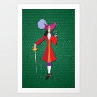 captain hook Art Prints featuring Captain Hook by AmadeuxArt