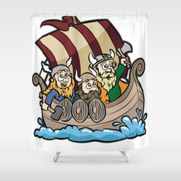 VIKINGS ON VIKING BOAT Longship Brute Berserk Shower Curtain