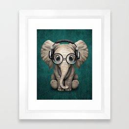 Cute Baby Elephant Dj Wearing Headphones and Glasses on Blue Framed Art Print