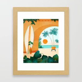 Seaside Surf Retreat / Tropical Landscape Framed Art Print