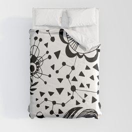 MARY ZOLES DESIGN - Düsseldorf - Abstract Black and White Ink Art Illustration Painting -  (P12 529) Comforters