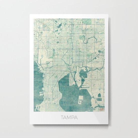 Tampa Map Blue Vintage Metal Print