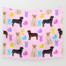Labrador retriever dog breed peeps marshmallow treat easter spring dog gifts Wall Tapestry
