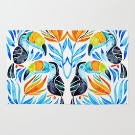 Tropical Toucans – Blue Leaves Rug