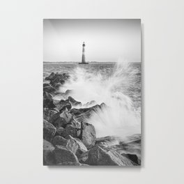 Morris Island Light Splash Metal Print