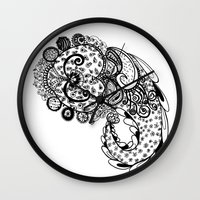 paisley Wall Clocks featuring Paisley by Flavia Caponi