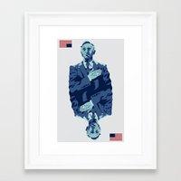 frank underwood Framed Art Prints featuring Underwood by Derek Eads
