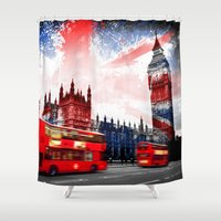 london Shower Curtains featuring London  by mark ashkenazi